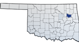 A map of Oklahoma with Wagoner county highlighted